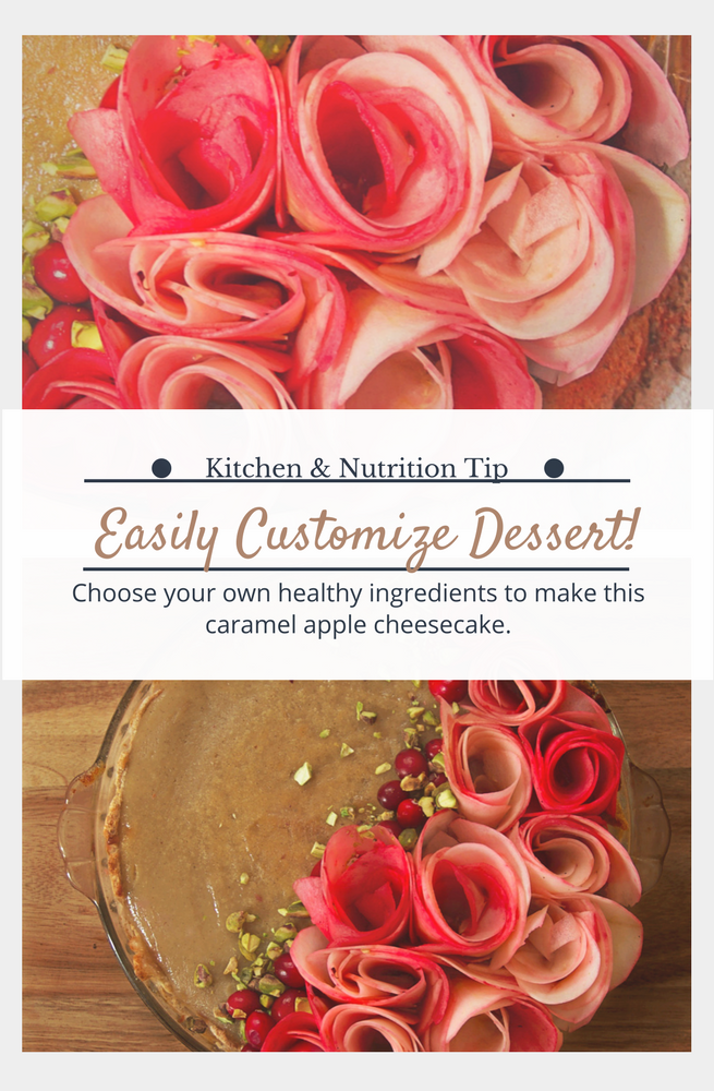 Caramel apple rose cheesecake